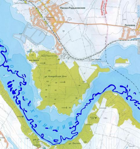 Карта глубин Краснооскольского водохранилища